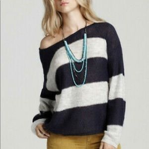 Free People | Wide Stripe Mohair Sweater Sz S NWT!